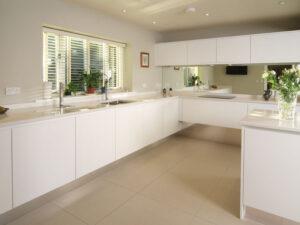 Modern white parapan floating kitchen