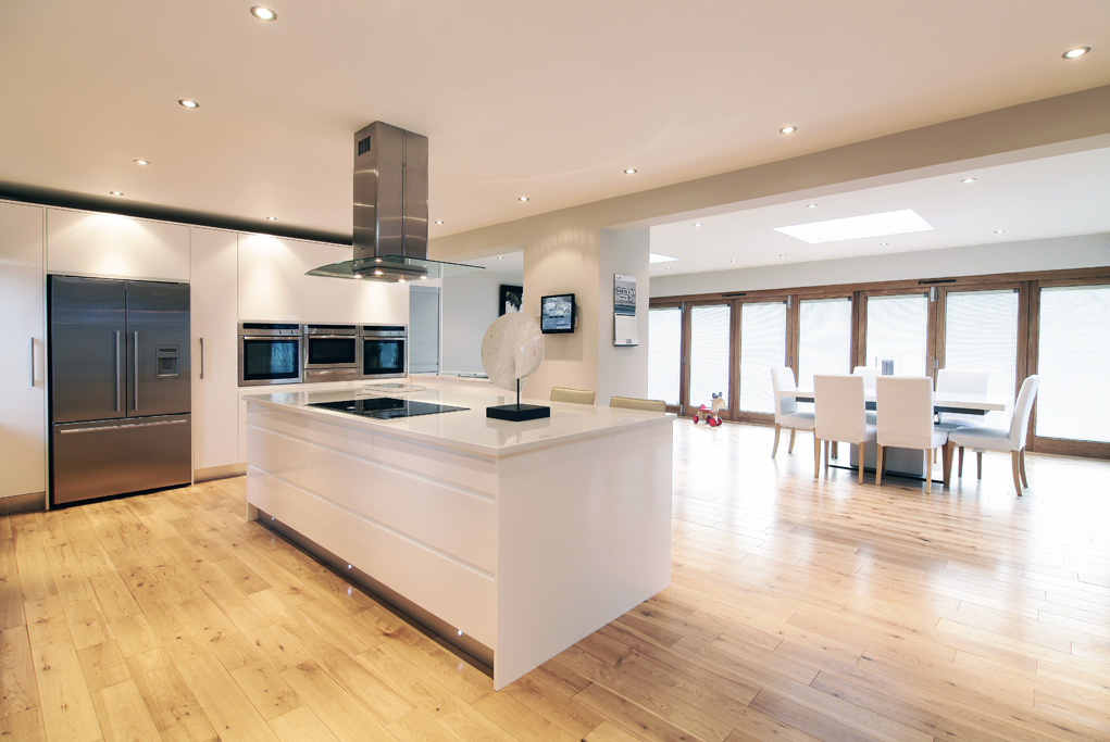 High gloss open plan kitchen diner by concept interiors - Designs for kitchen diners open plan ...