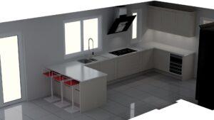 CAD visual of modern German kitchen in Sheffield.