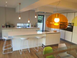 White German handle-less kitchen in Sheffield.